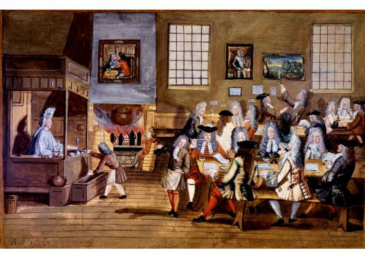 Cena do  interior de uma Coffee-House americana - séc XVIII