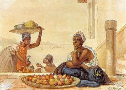 """Negra tatuada vendendo cajus"" - Jean-Baptiste Debret (1827)"